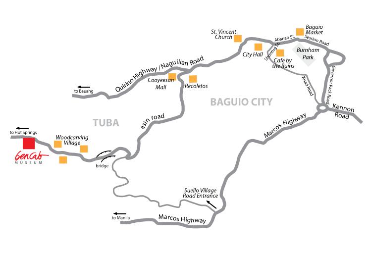 Location Info BenCab Museum - Baguio map