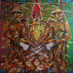 Leonard Aguinaldo, Deforestation, Acrylic on cloth, 2016, 125x125 cm