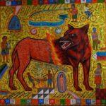 Leonard Aguinaldo, Naked Dog, Acrylic on cloth, 2017, 128x128 cm