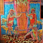 Leonard Aguinaldo, The Firewood, Mixed media on carved rubber, 2018, 155.5x108 cm