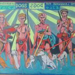 Leonard Aguinaldo, ESL for Dogs, Mixed media on carved rubber, 2018, 60x121 cm