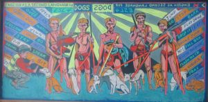 Leonard Aguinaldo, ESL for Dogs, Mixed media on carved rubber, 2018, 60x121 cm