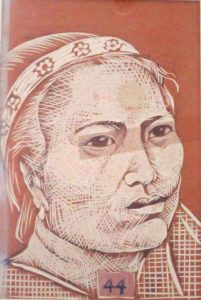 Leonard Aguinaldo, Subjects, Portrait of Lowland Filipinos 44, Uncolored carved rubber, 2016, 22x14.5 cm