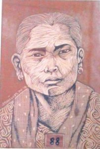 Leonard Aguinaldo, Subjects, Portrait of Lowland Filipinos 88, Uncolored carved rubber, 2016, 22x14.5 cm