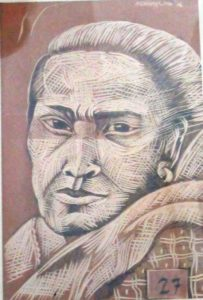 Leonard Aguinaldo, Subjects, Portrait of Lowland Filipinos 27, Uncolored carved rubber, 2016, 22x14.5 cm