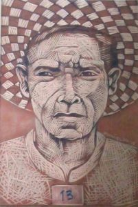 Leonard Aguinaldo, Subjects, Portrait of Lowland Filipinos 13, Uncolored carved rubber, 2016, 22x14.5 cm