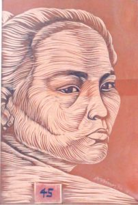 Leonard Aguinaldo, Subjects, Portrait of Lowland Filipinos 45, Uncolored carved rubber, 2016, 22x14.5 cm