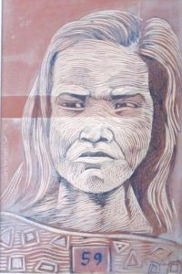 Leonard Aguinaldo, Subjects, Portrait of Lowland Filipinos 59, Uncolored carved rubber, 2016, 22x14.5 cm