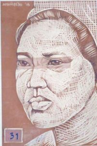 Leonard Aguinaldo, Subjects, Portrait of Lowland Filipinos 31, Uncolored carved rubber, 2016, 22x14.5 cm