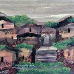 Manuel Baldemor, Old Limestone Dwellings, Watercolor, 2018, 10.5x13.5in