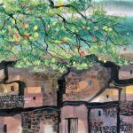 Manuel Baldemor, Rooftops on Verdant Trees, Watercolor, 2018, 10.5x13.5in