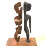 Art Sanchez, Modified Deity 2, Carved wood and metal, 2020