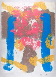 Jeff van den Broeck, Pot with Flowers, Clay monoprint, 2016